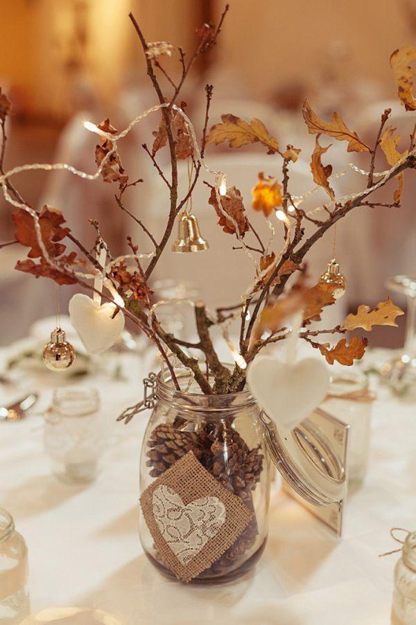 Centros de mesa de navidad con ramas secas