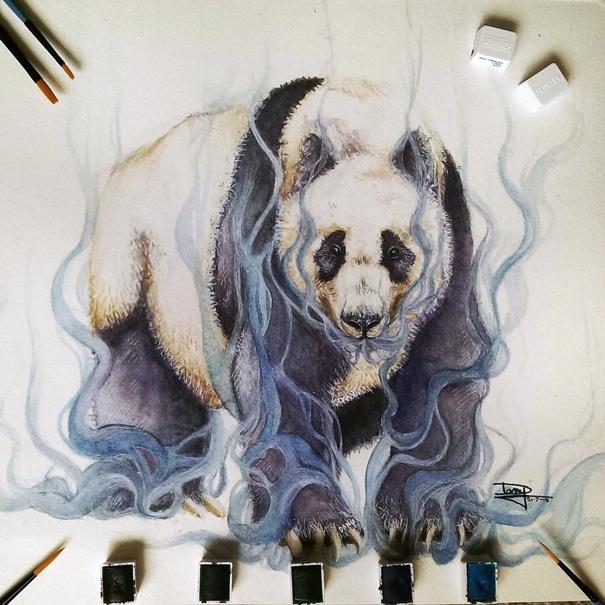panda en la niebla
